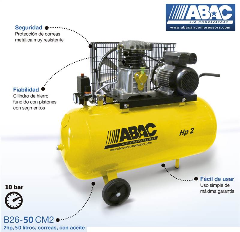 <div>COMPRESOR ABAC 50L AMARILLO CORREAS B26-50 CM2</div>